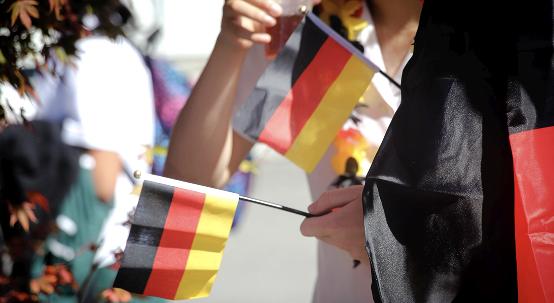 hands holding two small german flags
